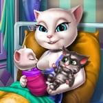 Игра Кошка Анжела рожает
